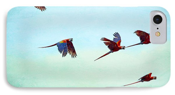 IPhone Case featuring the painting Scarlet Mackaws Flying by Peggy Collins