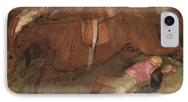 Scene From The Steeplechase The Fallen Jockey IPhone Case by Edgar Degas