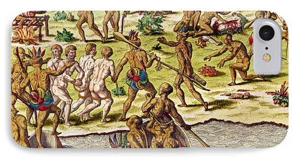 Scene Of Cannibalism IPhone Case by Theodore de Bry
