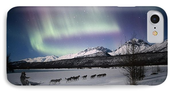 Scenic View Of Dog Team Mushing On The IPhone Case by Composite Image