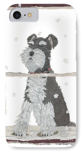 Schnauzer Art Hand-torn Newspaper Collage Art Phone Case by Keiko Suzuki Bless Hue