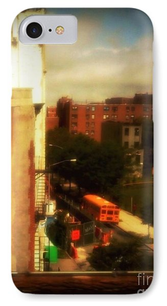 School Bus - New York City Street Scene IPhone Case by Miriam Danar