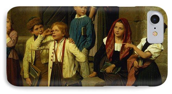 Schoolchildren Watching A Boy Cry IPhone Case by Friedrich Edouard Meyerheim