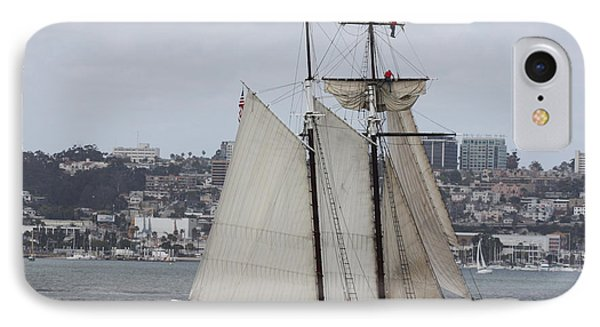 Schooner Heading Out To The Ocean IPhone Case by John Telfer