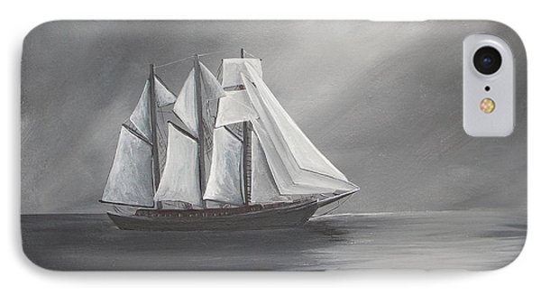 Schooner Moon IPhone Case by Virginia Coyle