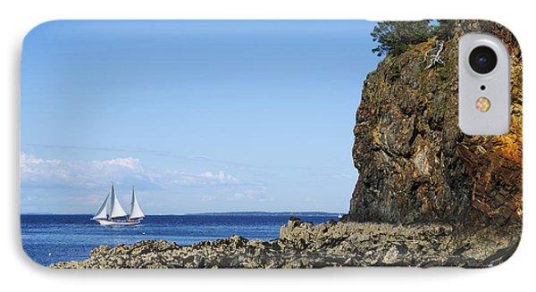 Schooner Sailing In The Bay Phone Case by Diane Diederich