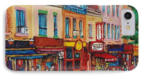 Schwartzs Deli And Warshaw Fruit Store Montreal Landmarks On St Lawrence Street  IPhone Case by Carole Spandau