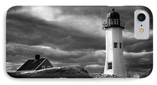IPhone Case featuring the photograph Scituate Lighthouse Under A Stormy Sky by Jeff Folger