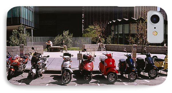 Scooters And Motorcycles Parked IPhone Case by Panoramic Images