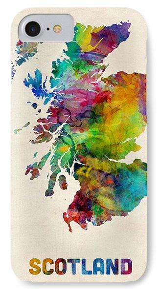 Scotland Watercolor Map IPhone Case