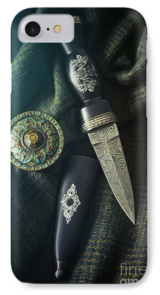 IPhone Case featuring the photograph Scottish Dirk And Celtic Pin Brooch On Plaid by Sandra Cunningham