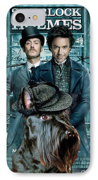 Scottish Terrier Art Canvas Print - Sherlock Holmes Movie Poster Phone Case by Sandra Sij