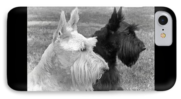 Scottish Terrier Dogs Black And White Phone Case by Jennie Marie Schell