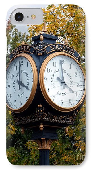 IPhone Case featuring the photograph Scranton Landmark Street Clock by Janine Riley