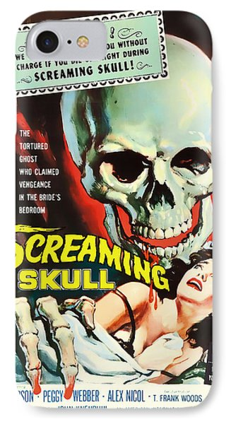 Screaming Skull Movie Poster 1958 IPhone Case by Mountain Dreams