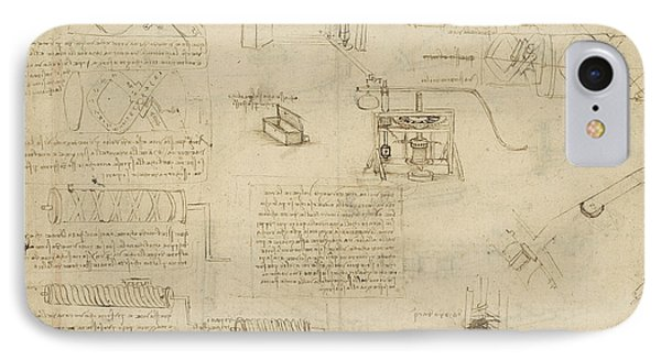 Screws And Lathe Assembling Press For Olives For Oil Production And Components Of Plumbing Machine  IPhone Case by Leonardo Da Vinci