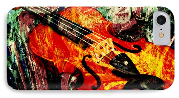 IPhone Case featuring the mixed media Scribbled Fiddle by Ally  White