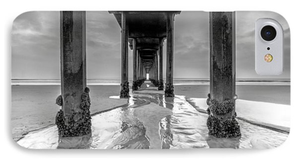 IPhone Case featuring the photograph Scripps Pier Black And White by Robert  Aycock