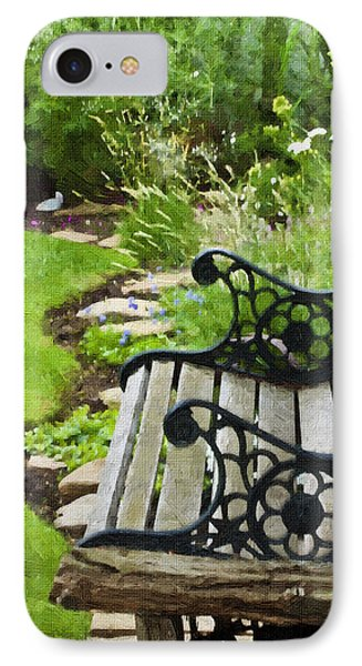Scroll Bench Garden Scene Digital Artwork IPhone Case by Sandra Foster