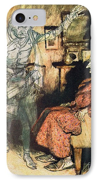 Scrooge And The Ghost Of Marley Phone Case by Arthur Rackham