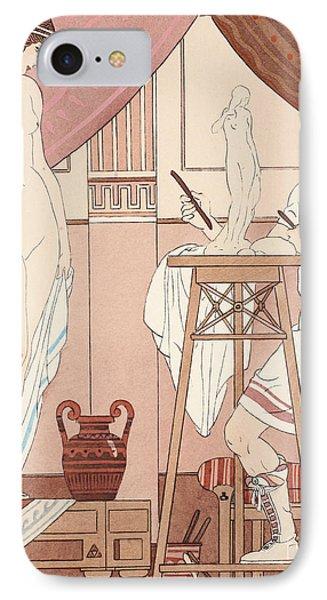 Sculpting A Statue Phone Case by Joseph Kuhn-Regnier