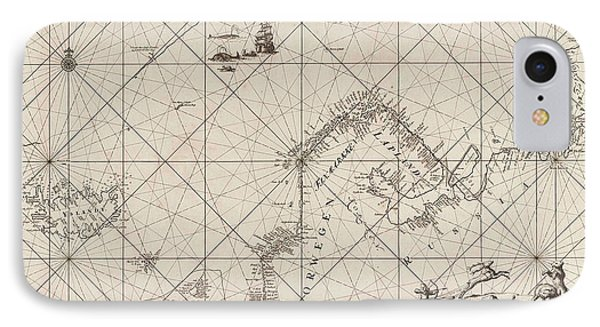Sea Chart Of Northern Part Of Atlantic And Arctic Ocean IPhone Case