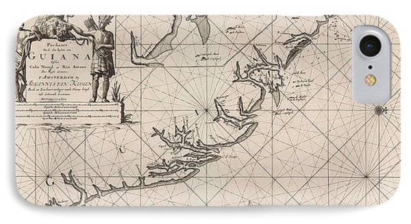 Sea Chart Of The Coast Of French Guiana, Jan Luyken IPhone Case by Jan Luyken And Claes Jansz Voogt And Johannes Van Keulen (i)