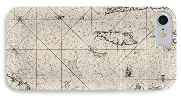 Sea Chart Of The South Coast Of Cuba And Jamaica IPhone Case by Jan Luyken And Claes Jansz Voogt And Johannes Van Keulen (i)
