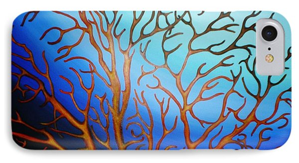 IPhone Case featuring the painting Sea Fan In Backlight by Paula L