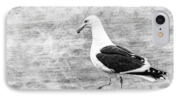 Sea Gull On Wharf Patrol IPhone Case by Jon Woodhams