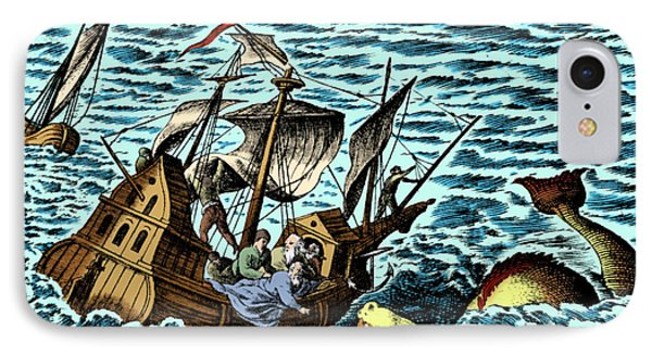 Sea Monster Attacking Ship, 1583 Phone Case by Science Source
