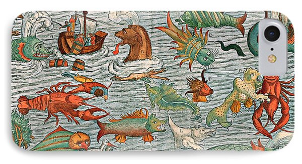Sea Monsters 1544 Phone Case by Photo Researchers