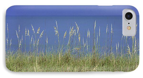 Sea Oats By The Blue Ocean And Sky Phone Case by Karen Stephenson