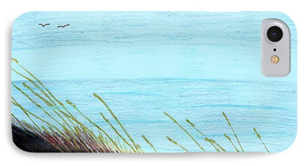 IPhone Case featuring the drawing Sea Oats In The Wind Drawing by D Hackett