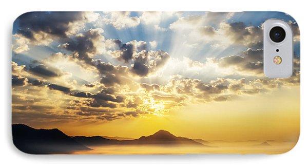 Sea Of Clouds On Sunrise With Ray Lighting Phone Case by Setsiri Silapasuwanchai