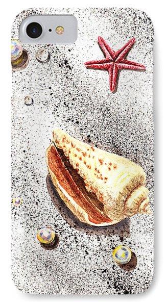 Sea Shells Pearls Water Drops And Seastar  Phone Case by Irina Sztukowski