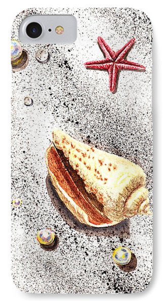 Sea Shells Pearls Water Drops And Seastar  IPhone Case by Irina Sztukowski