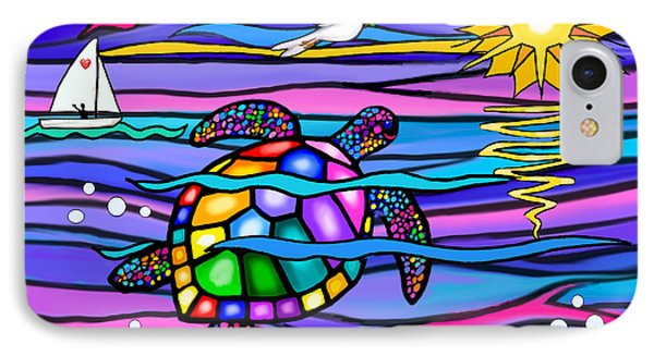 Sea Turle In Blue And Pink IPhone Case by Jean B Fitzgerald