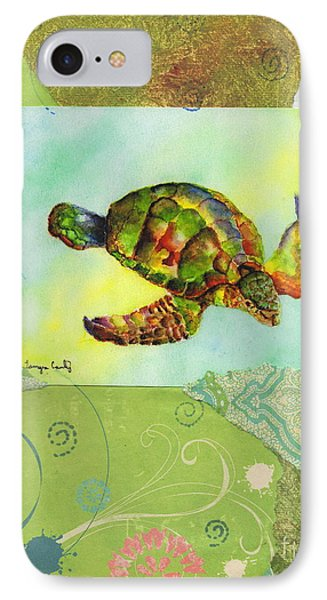 Sea Turtle Flight Mixed Media IPhone Case