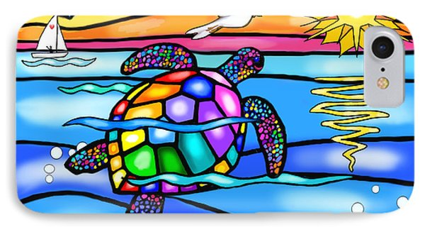 Sea Turtle In Turquoise And Blue IPhone Case by Jean B Fitzgerald