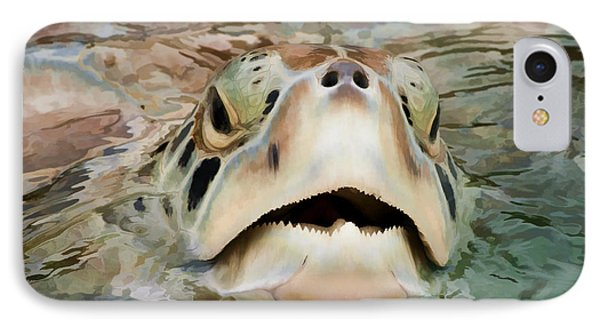 Sea Turtle Poking Head Out Of Water Phone Case by Dan Friend