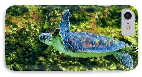Sea Turtle Swimming In Water Phone Case by Dan Friend