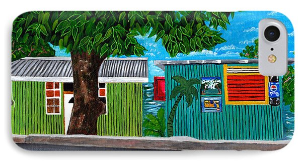 IPhone Case featuring the painting Sea-view Cafe by Laura Forde