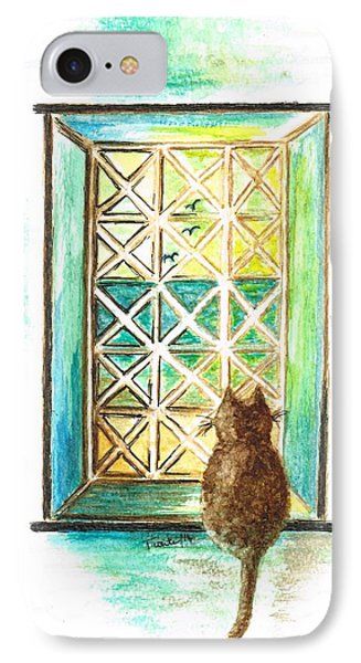 Curiosity - Cat IPhone Case by Teresa White