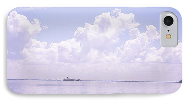 Sea With A Container Ship IPhone Case by Panoramic Images
