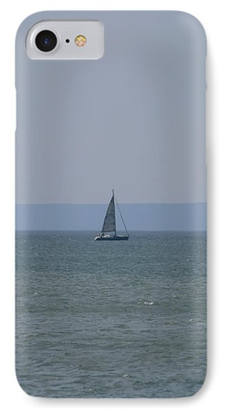 IPhone Case featuring the photograph Sea Yacht  Land Sky by Phoenix De Vries