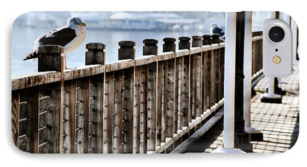 Seagull On The Boardwalk Phone Case by Sally Bauer