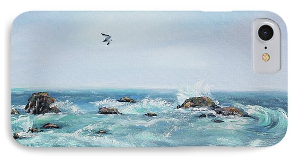Seagull Over The Ocean Phone Case by Asha Carolyn Young