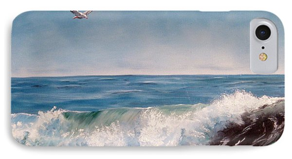 Seagull With Wave  IPhone Case by Lee Piper