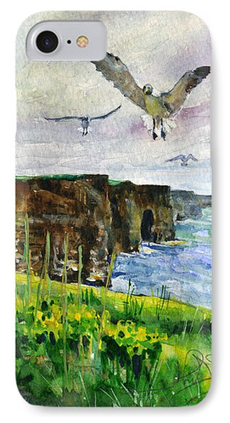 Seagulls At The Cliffs Of Moher Portrait IPhone Case by John D Benson